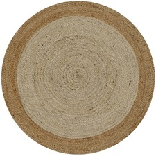 Round Natural Border Dot Rug