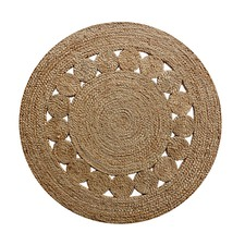 French-Knot Hand-Woven Natural Fine Jute Rug