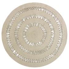 Taupe Dotti Round Cotton Rug