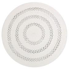 White Dotti Round Cotton Rug
