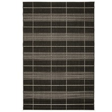 Black Grid Essenza Indoor Outdoor Rug