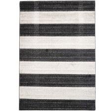 Black & Off White Plaza Modern Stripe Rug