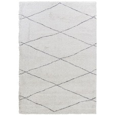 Cream/Dark Grey Diamond Pattern Moroccan Rug