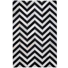 Black & White La Paz Zigzag Patchwork Cowhide Rug