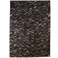 Coffee Brown La Paz Zigzag Patchwork Cowhide Rug