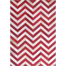 Red & White La Paz Zigzag Patchwork Cowhide Rug