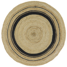 Black & Natural Wire Pattern Dot Jute Round Rug