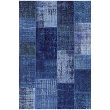 Blue Vico Patchwork Hand-Stitched Hemp Rug