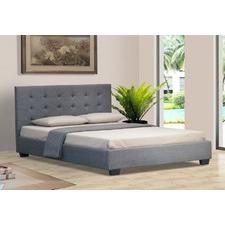 Alexis Grey Linen Wooden Bed Head