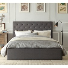 Grey Oxford Gas Lift Wooden Storage Bed