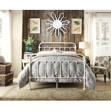 Ivory White Carter Metal Bed Frame