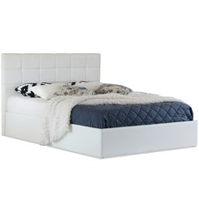 White Amalfi Buttoned Faux Leather Gas Lift Bed Frame
