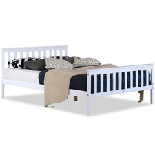 White Atlantis Pine Wood Bed Frame