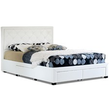 White Miles Faux Leather Bed Frame with Storage