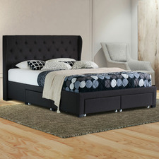 Charcoal Harlow Upholstered Bed Frame with Storage Drawers