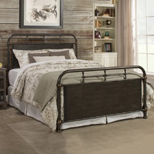 Rustic Brown Kingston Metal Bed Frame