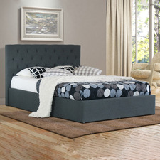 Charcoal Oxford Gas Lift Wooden Storage Bed