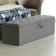 Grey Chester Fabric Storage Ottoman