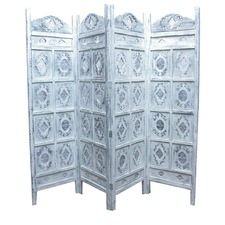 Jali Screen 4 Panel in White