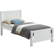 White Frankie Pine Wood Single Bed