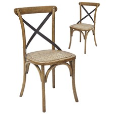 Cross Metal Back Dining Chair (Set of 2)