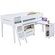 White Napolean Single Loft Bed
