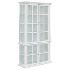 White Amara 4 Door Acacia Wood Display Cabinet