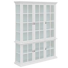 White Amara 6 Door Acacia Wood Display Cabinet