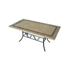 Large Stone Table with Black Frame