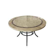 Round Natural Stone & Iron Outdoor Table