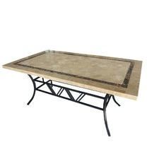 Natural Stone & Iron Outdoor Table
