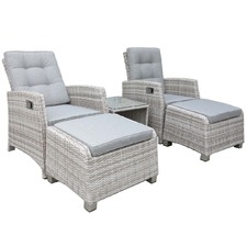 2 Seater Positano PE Wicker Outdoor Recliner Set