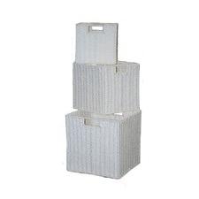 Paper Rope Storage Basket in White (Set of 3)