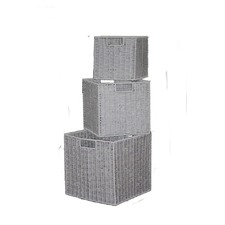 Paper Rope Storage Basket in Warm Grey (Set of 3)