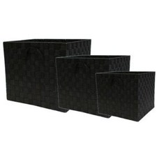 Nylon Storage Cube in Black (Set of 3)