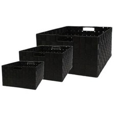 Rectangle Nylon Storage Basket in Black (Set of 3)