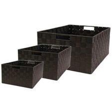 Rectangle Nylon Storage Basket in Chocolate (Set of 3)