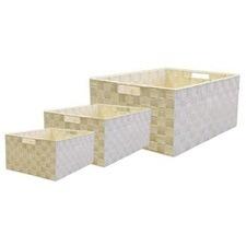 Cream Rectangle Nylon Storage Baskets