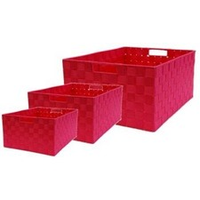 Rectangle Nylon Storage Basket in Rose (Set of 3)
