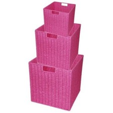 Paper Rope Storage Cube in Pink (Set of 3)