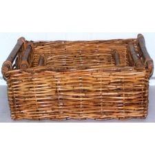 Oblong Rattan Utility Basket with Bar (Set of 3)