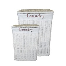 Willow Laundry Basket in White (Set of 2)