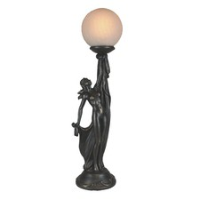 Standing Lady Upholding Ball Lamp
