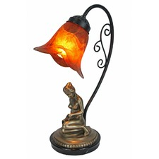 Cold Cast Bronze Reading Girl Lamp Base with Amber Glass Shade