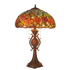 Stained Glass Roses Table Lamp