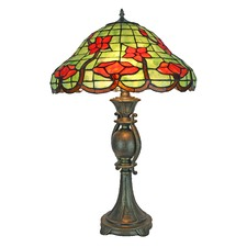 Stained Glass Red Floral Table Lamp