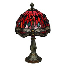 Stained Glass Red Dragonfly Table Lamp