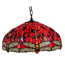 Stained Glass Red Dragonfly Pendant Lamp