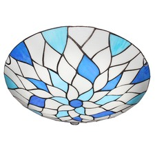 Blue & White Leaves Flush Mount Ceiling Light