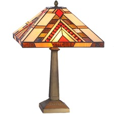 Red Jewelled Square Geometric Table Lamp